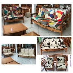 Jogo de Almofadas de couro para sofá de madeira ( vendemos também o jogo com os sofás)