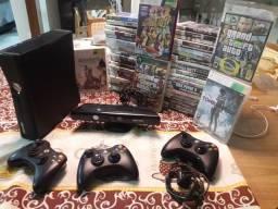 Xbox 360 desbloquado com kinect + 3 manetes + 49 jogos