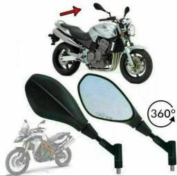 Par de Retrovisores Mod F800 BMW Giro 360 Honda ou Yamaha