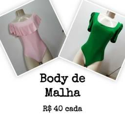 Body de Malha Verde e Rosa