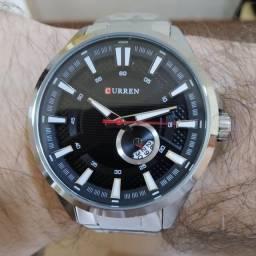 Relógio Curren De Luxo Com Calendário Prateado Aço Inox