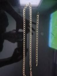 Corrente e pulseira de ouro 18k 16G