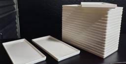 Prato retangular branco Uno Coza