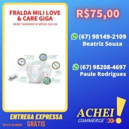 Fralda Mili Love & Care Giga - Bebe Tamanho M Médio 104 Un