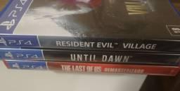 RE Village + Until Dawn + The Last 1 - Jogos PS4