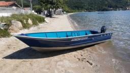 Barco Alumínio 5 m, motor 15 hp, carreta de encalhe