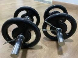 Kit com barras e anilhas para Musculação