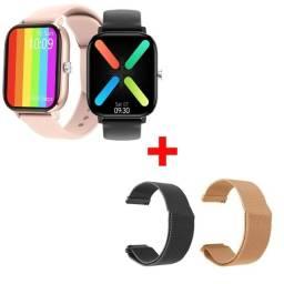 Smartwatch P8 Pro Max - DT36  + Pulseira em Inox