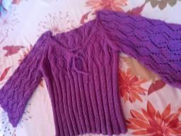 Blusa em tricô feito a mão, tamanho m a g