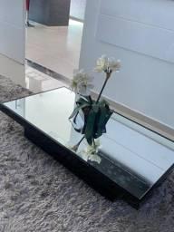 Mesa centro laca preta c vidro