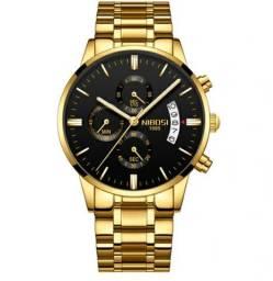 66d93f858b1 Relógio Original Nibosi Dourado Todo Funcional À Prova D água Gelo Fogo e  Riscos 100