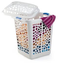 cesto de roupa 80 litros branco injeplastec