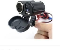 Carregador Para Moto Usb 12v Carrega Celular/gps + Acendedor