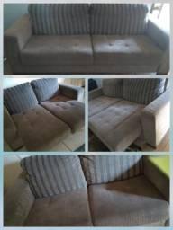 Conjunto de sofás retráteis em chamile ótimo estado