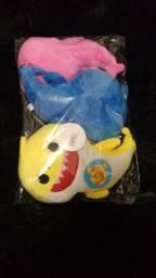 Pelucia Baby Shark Rosa Tubarao Musical Babyshark