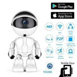 Câmera IP Wi-Fi Robô Full HD 1080p Sensor Presença Visão Noturna Cabeça Te Segue