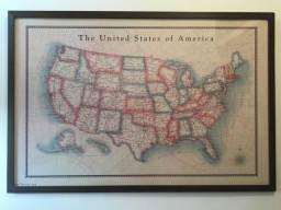 Quadro com moldura - mapa dos Estados Unidos