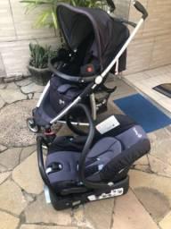 Carrinho de bebê + bebê conforto com suporte