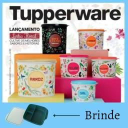 Conjunto 6 peças mantimento Tupperware Linha Floral + Brinde