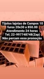 Título do anúncio: Tijolos de Campos 10 furos 20x30 a 850.00 direto da Cerâmica para sua Construção