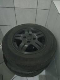 4 pneus meia vida + aro 13 original do G3