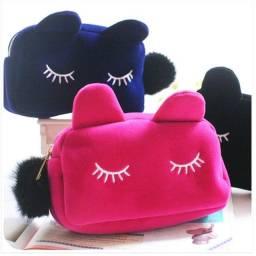 Bolsinha Feminina necessaire porta maquiagem gatinho