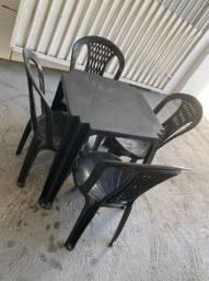Ja chegou jogo completo mesa com cadeira preta no atacado pra restaurante