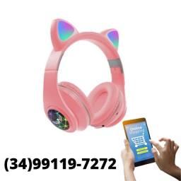 Título do anúncio: Fone Gatinho Bluetooth Sem Fio Com Led