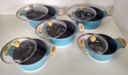Jogo De 5 Panelas Cerâmica Tampa De Vidro E Alça De Madeira