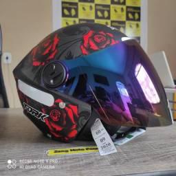 capacete new libertyflor + viseira camaleao