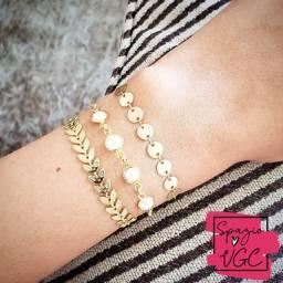 kit pulseiras reguláveis dourada escama medal us303