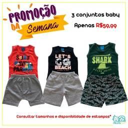 Conjuntos ou vestido baby 3 por R$59,99
