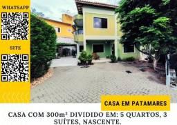 Título do anúncio: Casa em Patamares com 5 quartos, 3 suítes com captação de energia solar