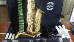 Para sair Hoje !!! Saxofone Alto Hofma Hsa 400 Glq C/ Case Luxo