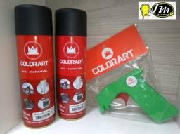 Tinta Spray Colorart Alta temperatura preto (2 Spray e uma Pistola)