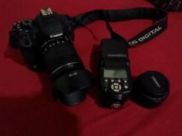 Câmera T5I + flash e lentes