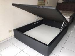 Base Box Baú Casal Madeiramento 100% Eucalipto Revestimento Reforçado Nova!