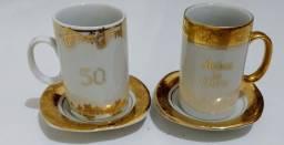 Xícaras de porcelana bodas de ouro