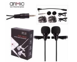 Microfone Duplo 2 Lapela Prof Arimic Celular Cabo Longo 5m