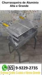 Churrasqueira Desmontável Grande de Aluminio Batido + Brinde