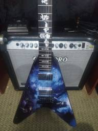 Guitarra Flying V Canhoto Com Capa