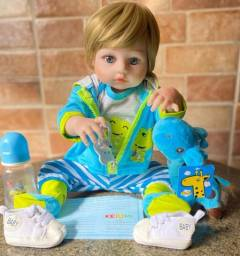 Lindo boneco bebê reborn todo em silêncio realista Loiro Olhos  Azuis Novo (aceito Cartão)