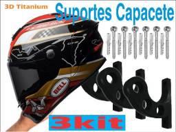 3 Suportes de Capacete de parede para capacetes, jaquetas, acessórios