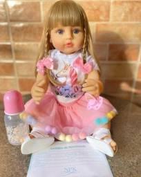 Boneca bebê Reborn Loira Olhos Azuis toda em Silicone realista Nova (Aceito Cartão)