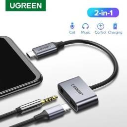 Adaptador fone de ouvido Usb C Carregue E Ouça Música Xiaomi Oneplus Huawei