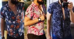 Camisas Floridas Masculinas (3 peças)