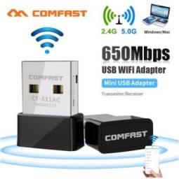 Adaptador wifi 650Mbps dual band 2.4/5.0GHz