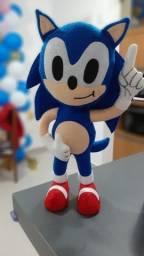 Boneco Sonic e Amy em feltro