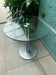Mesa redonda em inox com 3 cadeiras