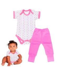 Roupa de bebê -RN, Menina Conjunto 2 peças Body manga curta